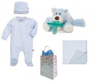 """White Diamonds"" Baby Boy 4 Item Baby Shower Gift Set with Free Gift Bag"