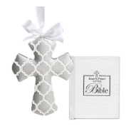 Christening Gifts For Boy or Girl Gift Set | White Cross and Babys First Bible Gender Neutral Baptism Gifts from Godmother
