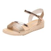 Ecurson Summer Open Toe Women Flat Simple Shiny Sandals (US:7