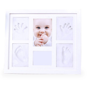 Baby Hand and Footprints Maker – 4pcs DIY Clay Kit – 1pc Baby Keepsakes Photo Frame – Perfect Gift and Decoration to Baby's Room