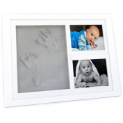 BEST BABY HANDPRINT KEEPSAKE PHOTO FRAME – Premium quality – For Boys and Girls – Best Shower Gift for Registry – Natural Memorable Clay – Great Wall or Table decoration – Cool design from Tiny Cosy