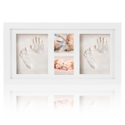 Baby Handprint and Footprint Picture Frame Kit, Baby shower Keepsake, Cool & Unique Baby Shower Gifts for Registry, Memorable Keepsakes Decorations