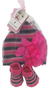 Pink, Black, And White Hat with Flower Trim and Matching Booties