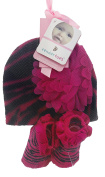 Hot Pink and Black Zebra Striped Hat with Flower Decoration and Satin Trimmed Booties