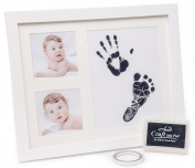 BABY HANDPRINT AND FOOTPRINT PHOTO FRAME KIT - Unisex Keepsake Frames for Babies + Baby Shower Wishes Card 2-4x6 Photo Folder, Unique Baby Gift For Registry by Anes