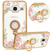 Galaxy J5 Case,PHEZEN Pink Flower Butterfly Bling Crystal Rhinestone Diamond Gold Plating Frame Crystal Clear Back TPU Bumper Case with Ring Stand Kickstand for Samsung Galaxy J5 (2015) J500