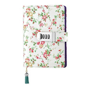 Floral Notebook with Password Lock, A6 Size, PU Leather Password Notebook with Combination Lock Refillable Student Diary Notepad