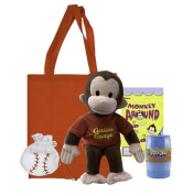 Curious George | Curious George Red Shirt Plush 41cm | Stuffed Animal Toy with Barrel of Monkeys and Monkey Around Sticker | Curious George Red Shirt | Gift Set with Red Resuable Bag