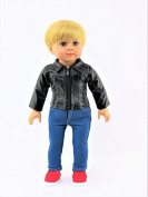 Black Leather Jacket | Fits 46cm American Girl Dolls, Madame Alexander, Our Generation, etc. | 46cm Doll Clothes