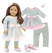 Complete 46cm Doll Outfit | 4 Pc Set | Grey and White Striped Dress with Pink Hem, Flower Hair Accessory, Grey Leggings and Pink Shoes