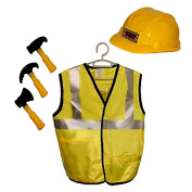 Construction Worker Role Play Dress Up Costume - Includes Safety Vest, Helmet and 3 Construction Tools - Childrens Construction Outfit Party Favour - Halloween Costume Play Set