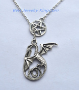 Pentagram Necklace ,Pentacle Necklace , Silver Pentagram Necklace ,Dragon Pendant Dragon Necklace Fantasy Jewellery Lucky Dragon Protection Necklace