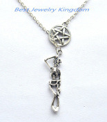 Pentacle Neklace, Pentagram Pendant, Wiccan, Spiritual Jewellery, Skeleton Necklace, Skeleton Jewellery, Skeleton Pendant, Skull Necklace, Charm Necklace, Halloween Jewellery