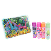 Townley Girl Dreamworks Trolls Super Sparkly Lip Balm for Girls, with decorative carrying tin