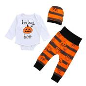 Newborn Infant Baby Pumpkin Halloween Romper Outfits Set 3PCS Girls Boys Costume