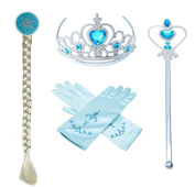 Princess Elsa Dress up Party Accessories Blue Favours 4 Pcs Gifts Set - Gloves Tiara Wig and Wand