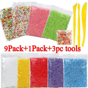 FASOTY 9 Pack Foam Balls for Slime, 1 Pack Fruit Slices, with Tools - Colourful Styrofoam Foam Balls 0.08-0.9cm ( 45000 Pcs ) and 500 pcs Fruit Slices for Arts Crafts Supplies DIY