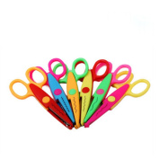 CiCy 13cm Length Creative Scissors School Smart Paper Decorative Wave Lace Edge Scissors - Set of 6 -Safe Paper Edging Scissors for scrapbook crafts and Gift Card