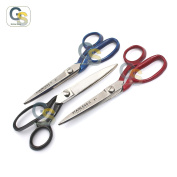 G.S 3 PCS TAYLOR SCISSORS FABRIC CUTTING STAINLESS STEEL RED, BLACK, BLUE colour COATED HANDLE 18cm BEST QUALITY