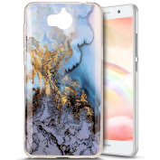 Huawei Y5 2017 Case, PHEZEN Magic Blue Marble Pattern IMD Design Cute Creative Anti-Scratch Bumper Ultra Slim TPU Soft Case Rubber Silicone Skin Cover for Huawei Y5 2017