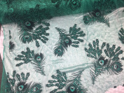 Emerald Green Glitter Peacock Feathers Design On A Spider Mesh Lace -yd