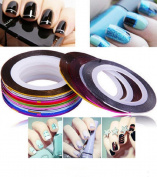 Dmeling Matte Metallic Yarn Beauty Nail Supplies Wavy Lines Painted Gold And Silver Stars Line With Self-Adhesive Nail Jewellery 1mm Kit