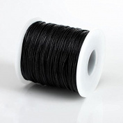 BLACK 1MM Thailand Waxed Polyester Cord Macrame Bracelet Thread String - 100yds Spool