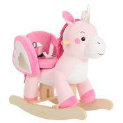 Labebe Wooden Rocking Horse for Toddlers, Boys & Girls Ride-on Toys for . old, High Rack Stuffed Animal Seat - Pink Unicorn