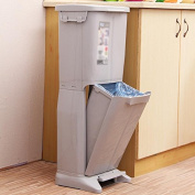 Imported antimicrobial double layer large trash cans living room home covered creative trash can 32 * 27 * 81cm , grey