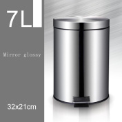 Creative Tarpapped Stainless Steel Slow Drop Silent Bucket Separate Household Trash Applicable Living Room Kitchen Bathroom Bedroom , 7l mirror light