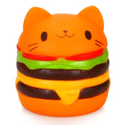 Dreampark Jumbo Cat Hamburgers Squishy Slow Rising Kawaii Cream Scented Squishy Charms Stress Relief Hand Pillow Toy, Decompression Squeeze Toys, Decorative Props