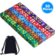 AUSTOR 50 Pieces 6- Sided Dice Set, 5 x 10 Pearl Colours Square Corner Dice with Free Velvet Pouches for Tenzi, Farkle, Yahtzee, Bunco or Teaching Math