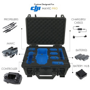 DJI Mavic Pro Case - Waterproof IP67 Rated Carrying Case with Custom Precision Machined Two-Tone Black and Blue EVA Foam Insert. Compact Portable Light Rugged ABS Hardshell Fits in a Backpack - Black