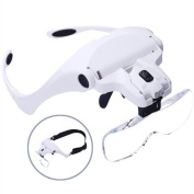 Headband Magnifier With LED Light, Handsfree Reading Head Mount Magnifier Glasses Light Bracket 5 Replaceable Lenses for Reading, Jewellery Loupe, Watch Electronic Repair