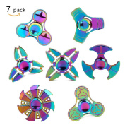 Metal Fidget Spinner 7 Pack Stainless Steel Bearing 3-5 Min High Speed Stress Relief Spin ADHD Anxiety Toys for Adult Kid Autism Fidgets Best EDC Hand Spinners Finger Toy Focus Fidgeting SCIONE