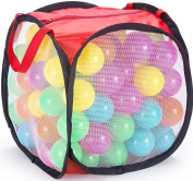 JaxoJoy 100 Pit Balls – Bulk Supply of Colourful, Crush Proof Plastic Balls for Ball Pit, Inflatable Jumper Tent, Swimming Pool & More – Non Toxic & BPA Free – FREE Storage Case