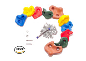 10 Large Kids Rock Climbing Holds with Mounting Hardware for up to 3.2cm Installation, Indoor Outdoor Playsets, Children Playground & Swing Set By Rocksela