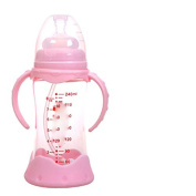 XW Glass Bottle Drop Wide Calibre with Straw Anti - Flatulence Neonatal Baby Bottle Baby Supplies,Pink,240ml
