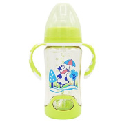 XW Ppsu Bottle 280ml Baby Silicone Drop Anti-flatulence Wide Calibre Anti-choking Milk Baby Bottle,Green,280ml