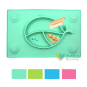 RayMoon Non-toxic Food Grade Silicone Placemat Feeding Plate and Tray bowl Suction Cup Mat for Children, Kids, Toddlers for Kitchen Dining Table Lovely Whale