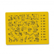 Silicone Placemat with Animals ABC Numbers Learning Mats for Kids/Toddler/Children/Baby (various colours)