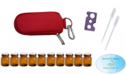 10 Bottle Essential Oil Padded Keychain Carrying Case Travel Bag (Red), 1ml Euro Orifice Reducer Bottles, Bottle Opener, Funnel, Pipettes