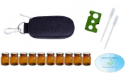 10 Bottle Essential Oil Padded Keychain Carrying Case Travel Bag (Black), 1ml Euro Orifice Reducer Bottles, Bottle Opener, Funnel, Pipettes