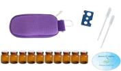 10 Bottle Essential Oil Padded Keychain Carrying Case Travel Bag (Purple), 1ml Euro Orifice Reducer Bottles, Bottle Opener, Funnel, Pipettes