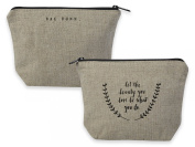 Rae Dunn Magenta Linen/Cotton Zip Pouch Cosmetic Bag ~ Let The Beauty You Love Be What You Do