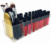 FLYMEI 25 Spaces Dust Free Acrylic Lip Gloss Lipstick Holder Case & Beauty Care Holder Makeup Organiser for Nail Polish, Cosmetics Brush, Bottles, Powder Compact