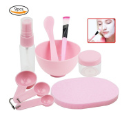 Teenitor DIY Facemask Mixing Tool Kit with Big Volume Mask Bowl Spatula Brush Spray Bottle Puff Soaking Bottle Gauges Pack of 9 Pink