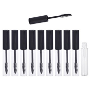 Coobbar 10ml 10pcs Empty Eyelashes Mascara Tube Vial Liquid Plastic Bottle Cosmetic Container With Black Cap