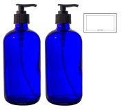 470ml Cobalt Blue Boston Round Thick Plated Glass Pump Bottles + Labels