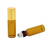 25 Pcs 5ML Amber Glass Roller Bottles Refillable Aromatherapy Perfume Essential Oil Roll On Bottle Container Vials Jars Tube with Metal Ball, Gold Cap
